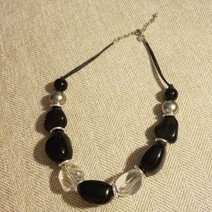 Black and clear large beads necklace
